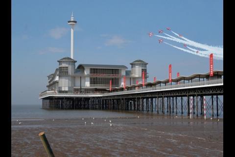 Beach view of Weston-Super-Mare's new pier